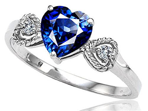 Tommaso Design Created Blue Sapphire Heart Shape Engagement Promise Ring 10kt Gold