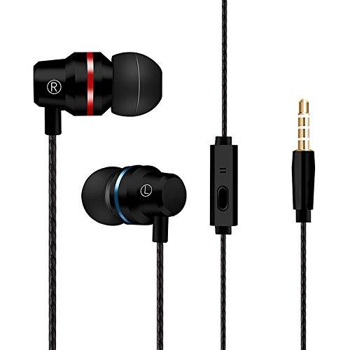 Aoile HiFi Super Bass Headset 3.5mm in-Ear Earphone Stereo Earbud Wired Headphone (Black)