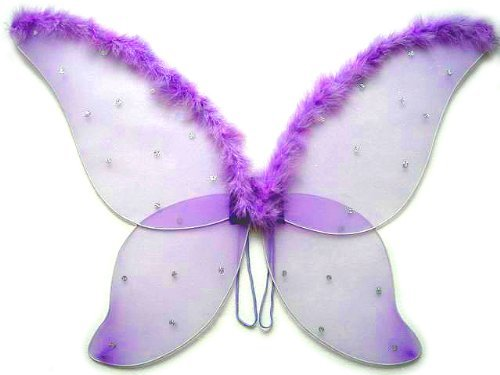 Large Purple Fairy Wings with Feather (33 in) by Cutie Collection (Adult Wings)