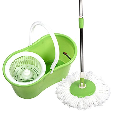 Microfiber Spining Magic Spin Mop W/Bucket 2 Heads Rotating 360°Easy Floor Mop - 360 Degree Foot Ring