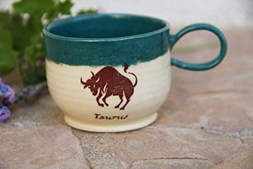 Taurus Espresso Cup, handmade pottery - Painted Personalized Pottery
