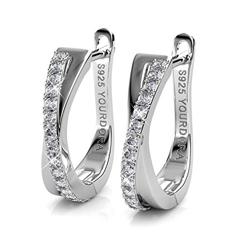 YOURDORA Women 925 Sterling Silver Twisted Hoop Earrings with Swarovski Elements Crystals Idea Gifts for Her (White Gold Plated) ()