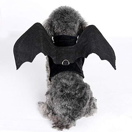 POPETPOP Halloween pet Dog Costumes Harness Outfits bat Wings Dog Cosplay Clothes for Small Dogs Cats - Size M ()