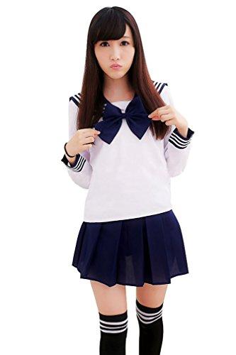 Ninimour- Japan School Uniform Dress Cosplay Costume Anime Girl Lady Lolita (S, Long-deep blue) ()