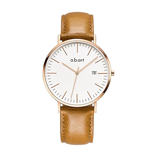 abart Wrist Watch for Men his Watches FB41 Analog Crystal Sapphire Roman Numerals Watches (Clear dial Brown Strap) (Brown Dial Roman)