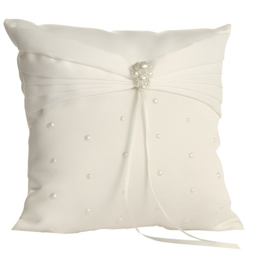 Jamie Lynn Wedding Accessories Charming Pearls Ring Pillow, Ivory