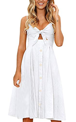 (ECOWISH Womens Dresses Summer Tie Front V-Neck Spaghetti Strap Button Down A-Line Backless Swing Midi Dress 1603 White L)