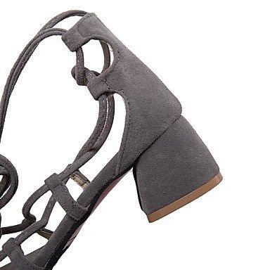 LvYuan Tacón Robusto-Tira en el Tobillo-Sandalias-Informal Vestido-Vellón-Negro Amarillo Gris gray