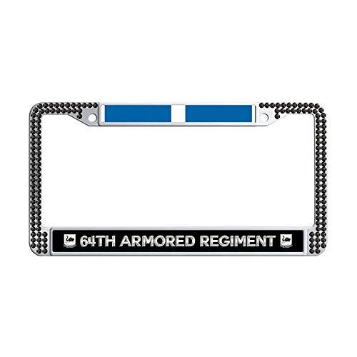 Hensonata U.S. Army 64th Armored Regiment Korea Veteran Sparkle Rhinestones License Frame, Bling Diamond License Frame car,Black]()
