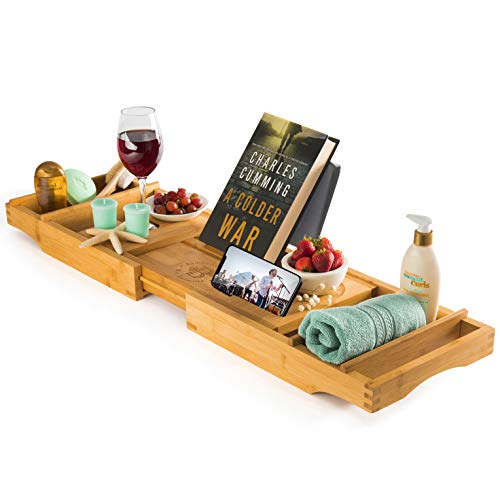 - Bambusi Premium Bamboo Bathtub Tray - Natural Wood Luxury Bathtub Caddy Tray Extending Sides, Reading Rack, Tablet Holder, Cellphone Tray, Wine Glass Holder Idea