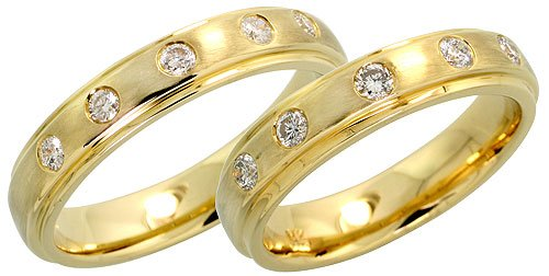 Bezel Set Brilliant Cut Diamond (14k Gold Matte Finish Band Diamond Wedding Set (4.5mm each), w/ 0.43 Carat Brilliant Cut Diamonds, (Men's Size: 9 to 12); Ladies' size 7.5)