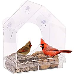 Gold Happy Hanging Bird Feeders Clear Glass Window Viewing Bird Cages Feed Hotel Suction for Pet Bird Nests