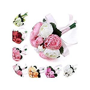 mamamoo 2019 Wedding Party Bridal Bouquet Bridesmaid Flower Bouquet with Silk Ribbon Peony Flowers 75