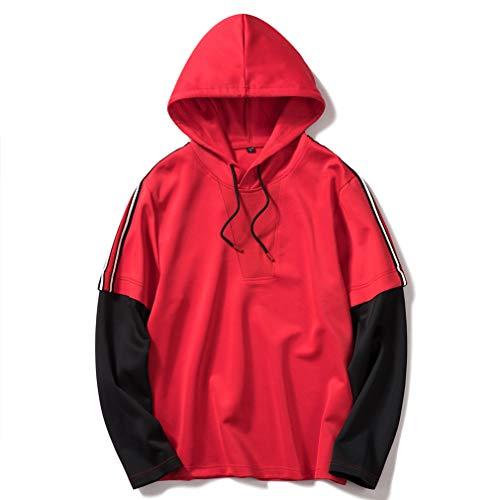 Pull Sweat Deux Capuche Pulls À Mens Rouge Longues Pièces shirt Sport Casual T Chemisier Faux Manches Hauts 6qSnfB5n1