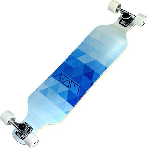 "Atom Longboards Atom Drop Deck Longboard - 39"", Blue Triangles"