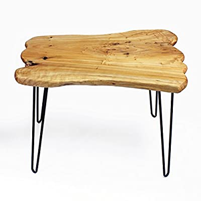 """WELLAND Natural Edge Coffee Table Small, Hairpin Coffee Table, Natural Wood End Table, Wood Slab Table 28"""" L x 20"""" W x 20.5"""" T - STURDY BUILT - Constructed of reclaimed cedar stumps and sturdy metal hairpin legs with an easy care natural lacquer finish. UNIQUE APPEARANCE - Every wood slab is handpicked and combined into bigger piece to show natural imperfections of uneven textures and irregular shapes. Due to this characteristic, every piece has different shape, appearance, and varying measurement. STYLISH APPEAL- This piece of art will fit into your mid-century modern or primitive style home. It is the perfect combination of art and nature, made with exquisite craftsmanship that will bring warmth to and enlighten any space. - living-room-furniture, living-room, coffee-tables - 41BR%2BIESQNL. SS400  -"""