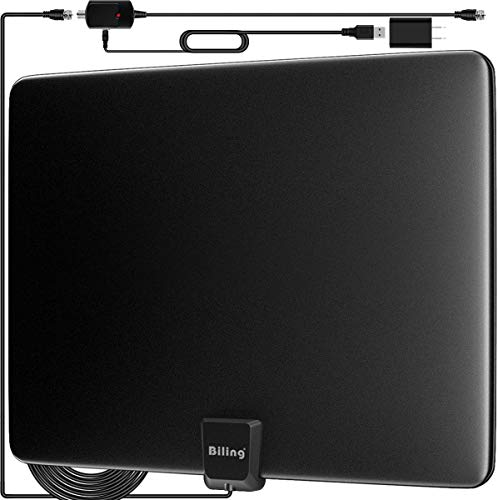 Biling TV Antenna for Digital TV Indoor, 80-120 Miles TV Antenna Indoor Amplified HDTV Antenna, Digital HDTV Antenna Long Range with Amplifier Signal Booster - 16.6 Feet Coax Cable/USB Power Adapter (Cable Coax Powered)