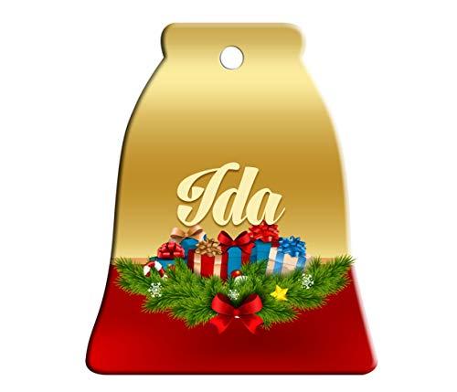 Makoroni - IDA Female Name Christmas Ornament (Bell) - Bell Holiday Christmas Baby Shower Wedding Ornament -
