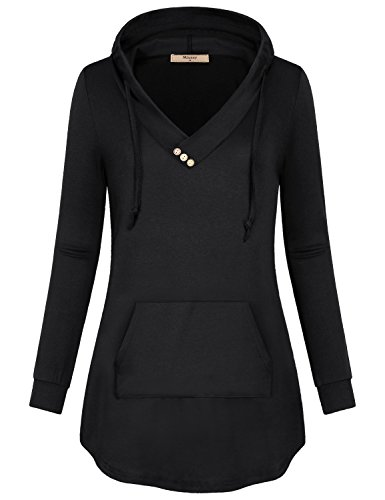 Logo Hoodie Top - Miusey Long Sleeve Tops for Women, Ladies Blouse Pullover V Neck Loose Fitted Cozy Button Front Sweatshirt Black X-Large