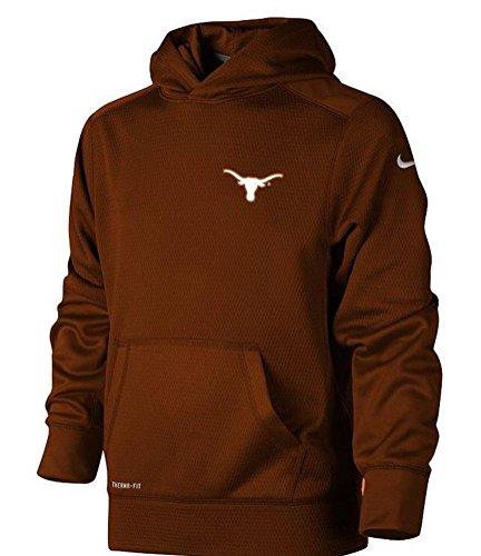 New Boys Nike Burnt Orange University of Texas Longhorns Therma Fit KO Hoodie (Medium)