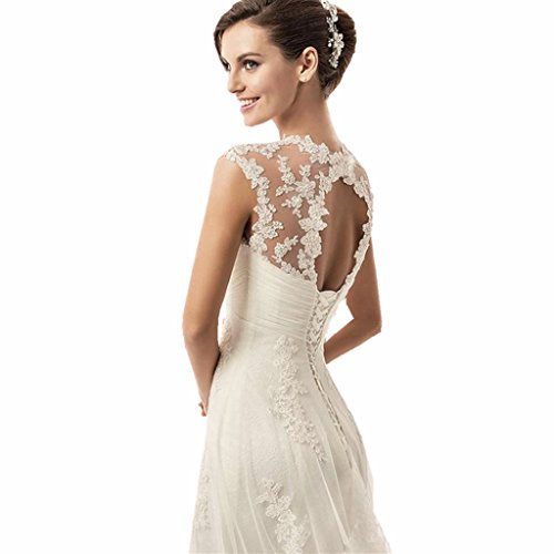 YUAKOU Women's Sexy Cap Sleeve Beaded Lace Wedding Dress for Bride Bridal Gown