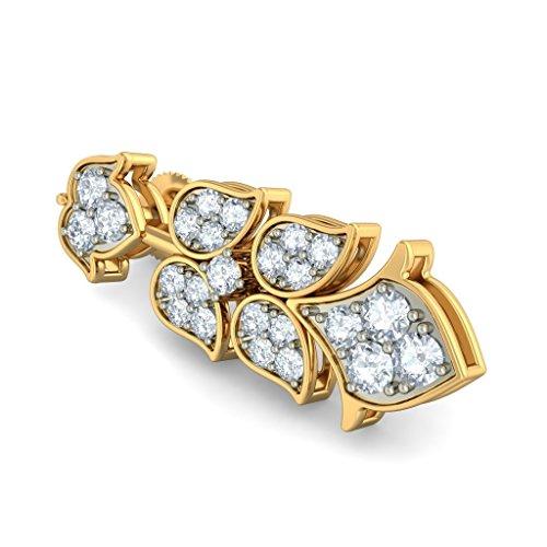 18K Or jaune 0,96CT TW White-diamond (IJ | SI) Pendants d'oreilles