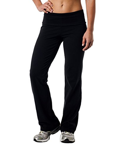 - Alki'i Luxurious Cotton Lycra Fold Over Yoga Pants, Black 2XL