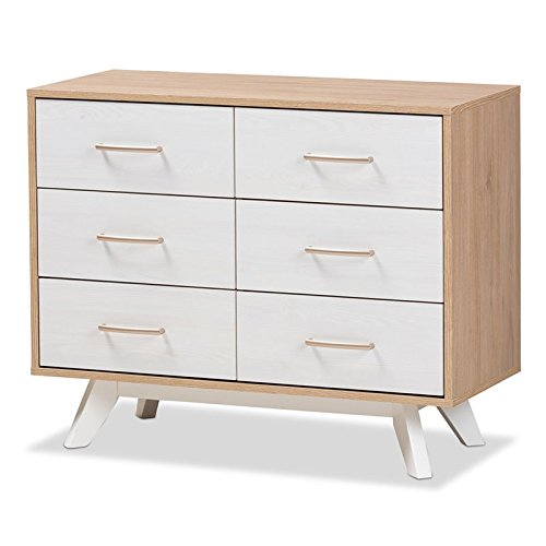 (Baxton Studio Helena 6 Drawer Double Dresser in Natural and Whitewash)