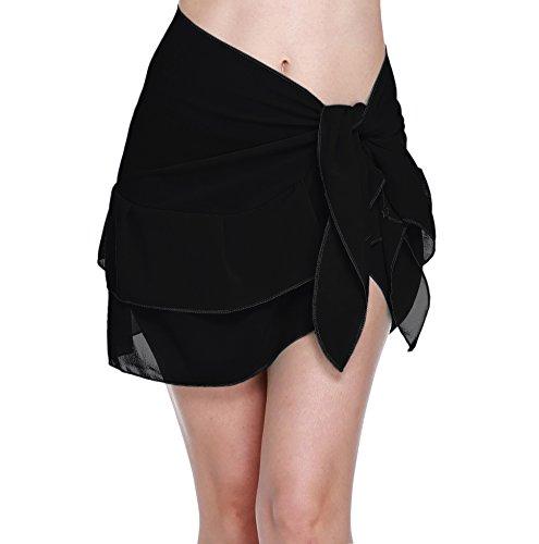 - ChinFun Women's Beach Cover Up Short Sarong Dress Pareo Multi Wear Ruffle Swim Skirts Bathing Suit Bikini Chic Mini Sexy Swimsuit Wrap Swimwear Chiffon Shawl Solid Black