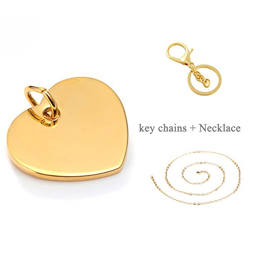 LiFashion LF 316L Stainless Steel IP Gold Plated Name Initial Personalized Disc Heart Tag ID Key Ring Keychain Charm Pendant Necklace for Men Women Pets,Free Engraving Customized (Tag Heart Keychain)