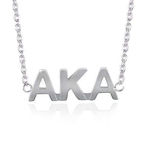 Jewelry Alpha (Jeka Stainless Steel Alpha Kappa Alpha Necklace Fashion for Women Girl AKA Pendant Chain Necklace Silver)
