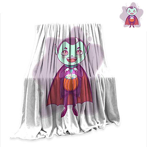 Weave Pattern Extra Long Blanket Halloween Little Vampire Dracula Boy Kid with Smiling face in Halloween Costume with Pumpkin in his Hands 90