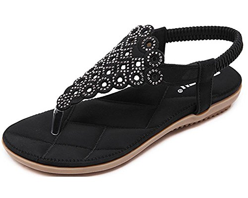 Kufv Womens Ladies Summer Thong Sandals Flats Toe Post Flip Flops Casual - Toe Sandal Flat Post