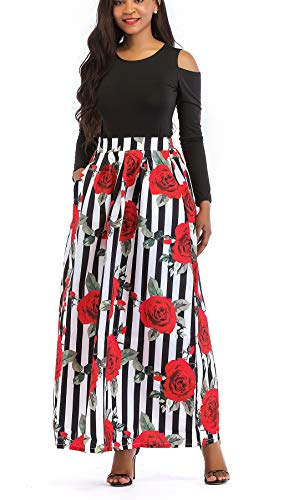 VLUNT Women's African Floral Print A Line Long Skirt Pockets Two Pieces Maxi Dress Medium Red - Musical Red Rose