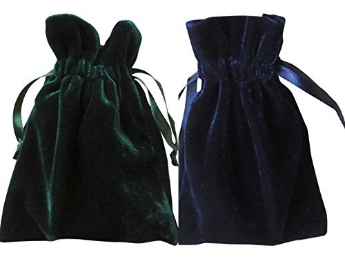 Tarot and Dice Bags Small Velvet Duo Bundle: Navy Blue and Hunter Green (4