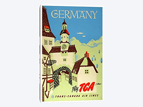 """Germany Fly TCA Trans-Canada Air Lines - Canvas Wall Art Gallery Wrapped 18""""x26"""" - 1.5"""" Depth"""