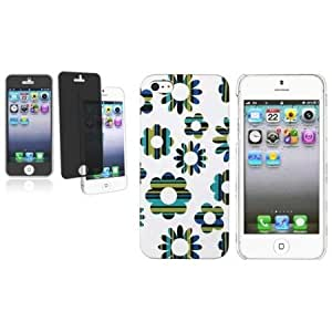 Bloutina CommonByte Mint Green Blue White Flower Rubber Hard Cover Case+Privacy Filter For iPhone 5