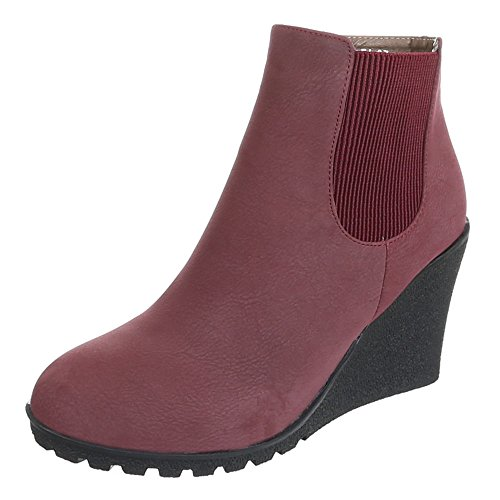 Stiefeletten Halbschaft Damen Schuhe Blockabsatz gefüttert Boots Schwarz Braun Rot 36 37 38 39 40 41 Weinrot