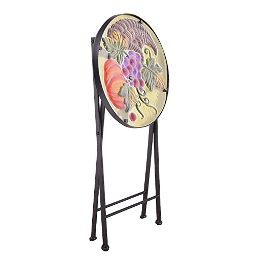 Joveco Hand Painted Style Multicolor Artscape Accent Glass Top Round Side Table Plant Stand, Foldable – Grapes and Pumpkin