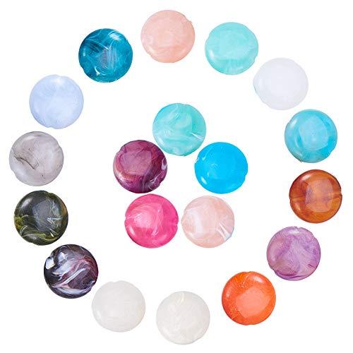 Pandahall 30pcs Mixed Flat Round Imitation Gemstone Acrylic Beads for Jewelry Making