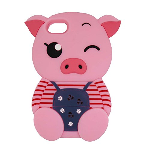 Samsung Galaxy Core Prime G360 Case, Maoerdo Cute 3D Cartoon Pink Stripes Pig Silicone Rubber Phone Case Cover for Samsung Galaxy Core Prime G360