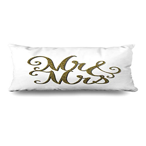 (Ahawoso Body Pillows Cover 20x54 Inches Royal Topper Words Mr Gold Effect Cake Wedding Charm Congratulation Cut Design Wood Decorative Zippered Pillow Case Home Decor Pillowcase)
