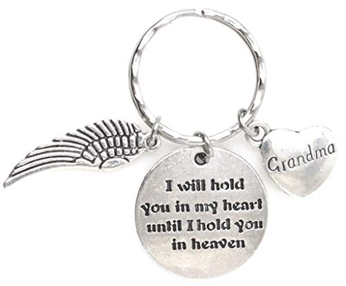 I Will Hold You in My Heart Until I Hold You in Heaven Angel Wing Grandma Keychain 111W