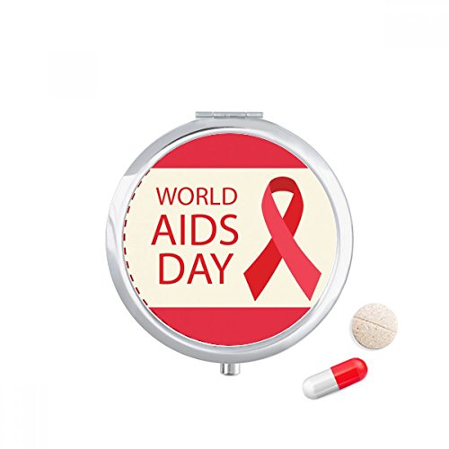 World AIDS Day 1st December Red Ribbon HIV Travel Pocket Pill case Medicine Drug Storage Box Dispenser Mirror Gift by DIYthinker