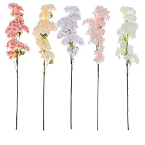 CANAFA-Home & Kitchen Artificial Flowers Artificial Silk Fake Flowers Cherry Blossom Floral Wedding Bouquet Party Decor 52