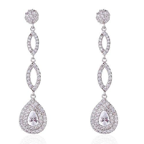 Wordless Love Full Pave Cubic Zirconia Teardrop Bridal Long Earrings White Weeding Jewelry by Wordless Love (Image #5)