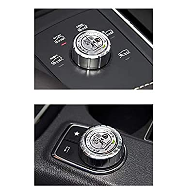 MAXDOOL AMG Metal Modified Center Console Multimedia Control Button Knob Trims Cover Decals Emblems Stickers for Mercedes Benz A B E GLK GLA CLA GLE ML GL Class (29mm Knob): Automotive