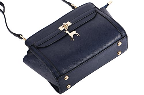 Blue Shoulder SAMKITY Women's Crossbody Leather Leather Genuine Bag Real Bag qzqp1n4H