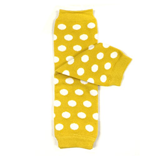 Bowbear Baby Polka Dot and Solid Color Leg Warmers, Yellow and White Dots