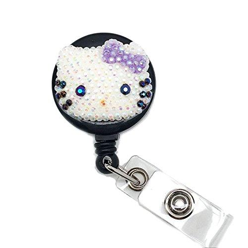 LOVEKITTY Small Hello Kitty Inspired Bling Bling Rhinestone Retractable Badge Reel/Name Badges/ID Badge Holder (AB Jelly Lavender Bow)